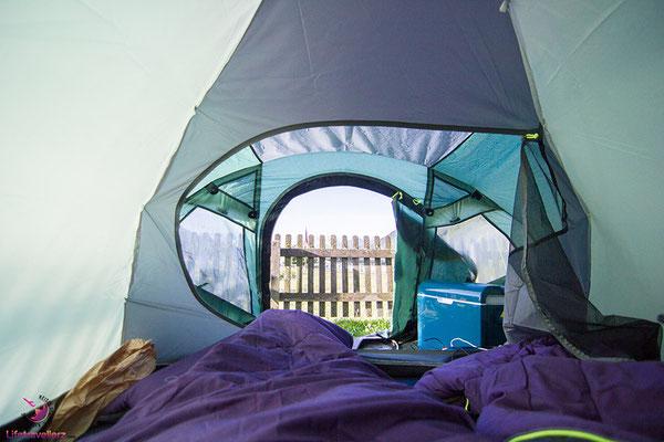 Übernachten im Zelt am Reschensee - Roadtrip Südtirol