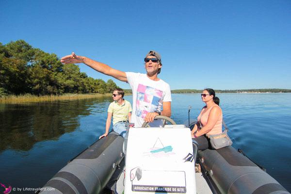 Lac d'Lacanau an der französischen Atlantikküste - Kitesurfen lernen