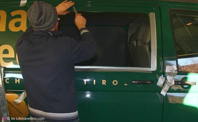 VW T5 Schiebetür Fenster einbauen