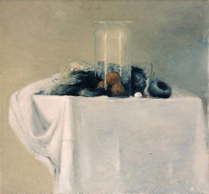 Stillleben mit Glas 1, 1980, Öl auf Leinwand, 60x65, Privatbesitz
