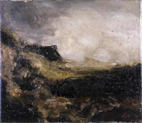 Landschaft Regenstein, 1975, Öl auf Leinwand, 30x35
