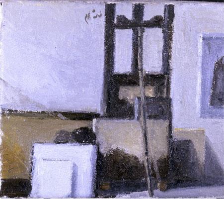 Atelier 1, 1982, Öl auf Leinwand, 30x35
