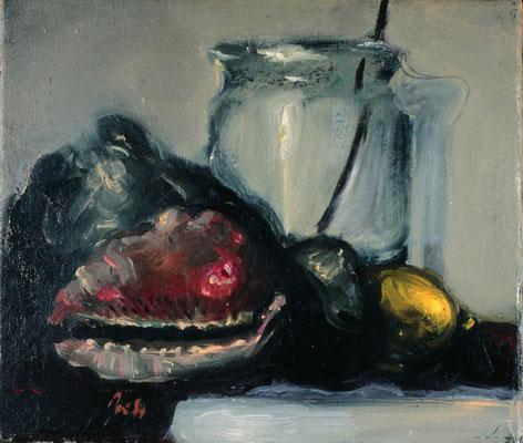 Glas und Muschel, 1985, Öl auf Leinwand, 30x35, Privatbesitz