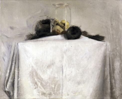 Glas und Nester, 1975, Öl auf Leinwand, 81x95, Privatbesitz