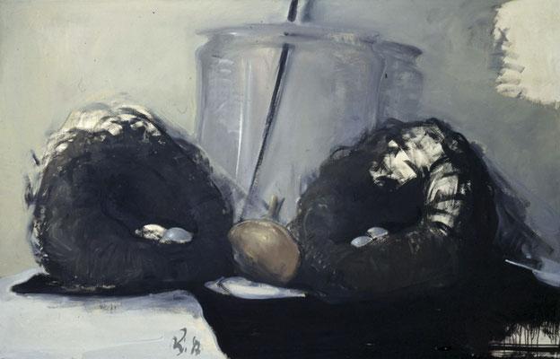Stillleben mit zwei Nestern und Glas, 1986, Öl auf Leinwand, 140x200
