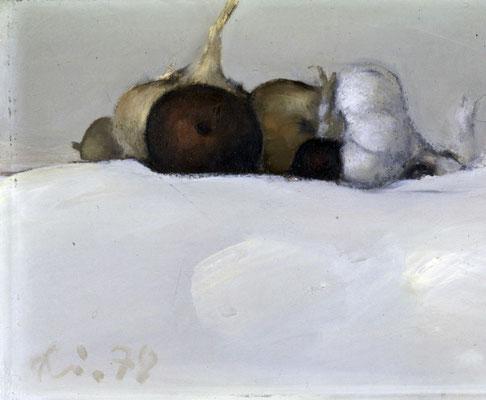 Stillleben mit Knoblauch, 1983, Öl auf Leinwand, 21x33, Privatbesitz