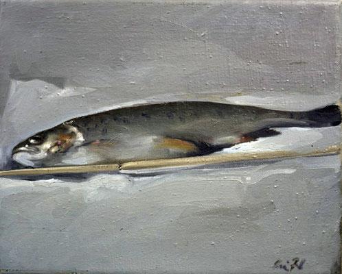 Forelle, 1974, Öl auf Leinwand, 30x35, Privatbesitz