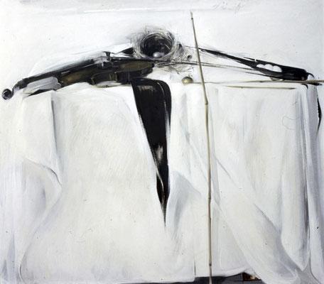 Stillleben mit Geige 1, 1976, Öl auf Sperrholz, 111x125, Privatbesitz