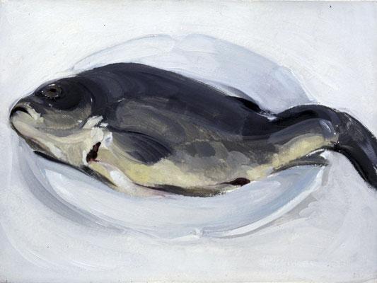 Karpfen, 1976, Öl auf Holz, 20x30, Privatbesitz
