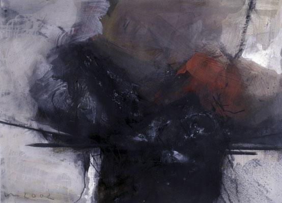 Nest mit Rot, 1991, Mischtechnik auf Papier, 60x85, Privatbesitz
