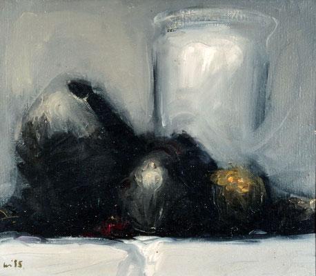 Nester und Glas, 1980, Öl auf Leinwand, 30x35, Privatbesitz