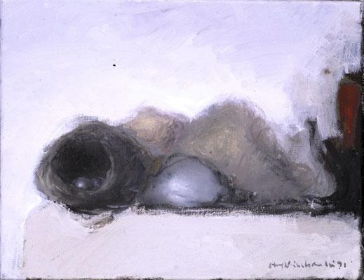 Stillleben mit Nestern, 1985, Öl auf Leinwand, 30x35, Privatbesitz