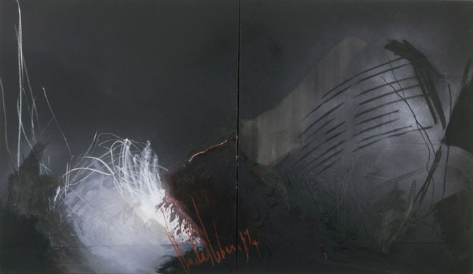 Großes dunkles Stillleben, 1994, Öl auf Leinwand, 140x240