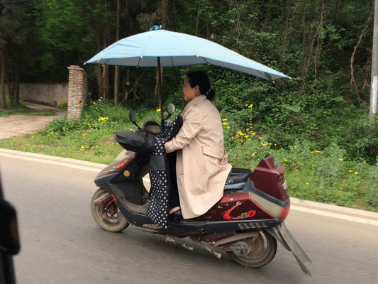 おまけ。帰り道で見かけたバイクのおばちゃん。雨でも大丈夫。