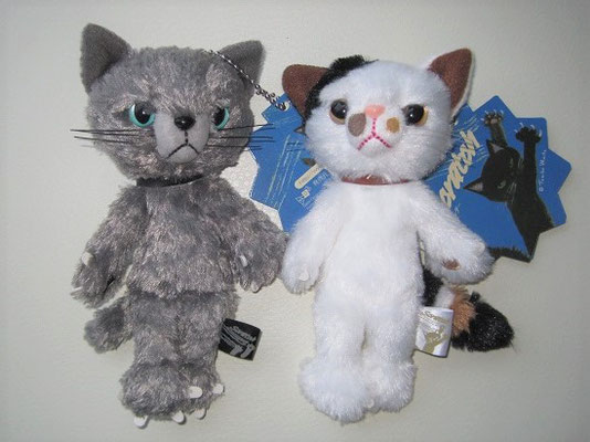 スクラッチ猫のマスコット中型タイプグレーと三毛