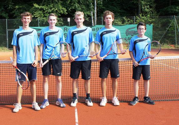 v. links :Yannick Schrödel, Moritz Hoffmann, Marcus Fabian und Michael Göller. Es fehlt Raphael Schüttler.