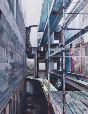 """Durchbruch, aus der Reihe """"Rückblicke-Durchblicke"""", Acryl auf Leinwand, 180x140cm, 2013"""
