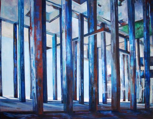 """Haus am See, aus der Reihe """"Rückblicke-Durchblicke"""", Acryl auf Leinwand, 140x180cm, 2013 ©Dorothee Liebscher"""