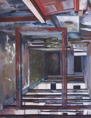 "Eingang, aus der Reihe ""Rückblicke-Durchblicke"", Acryl auf Leinwand, 180x140cm, 2013"