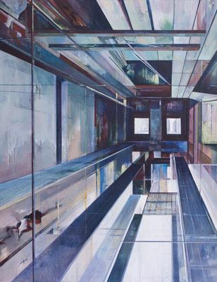 """Schluchten, aus der Reihe """"Rückblicke-Durchblicke"""", Acryl auf Leinwand, 180x140cm, 2013"""