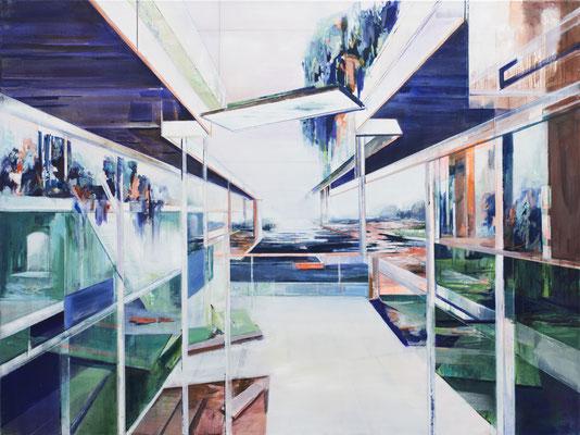 Wasserhaus, Acryl und Öl auf Leinwand, 105x140cm, 2019