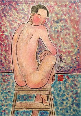 """Naked from behind"", inchiostro e tempera su carta, 51x36 cm"