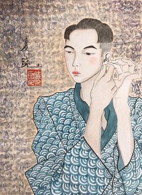 """Man who is wearing an earring"", inchiostro e tempera su carta, 31x23 cm"