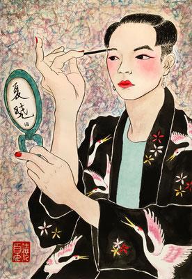 """""""Putting on makeup"""", inchiostro e tempera su carta, 35x26 cm"""