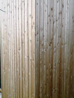 Detailansicht: So sieht die Ecke des Hauses mit der neuen Holzfassade aus.