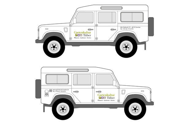 Tecnische Zeichnung Fahrzeugbeschriftung Defender