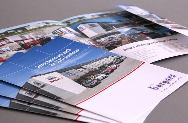 Broschüre mit Einklapper für verschiedene Automarken/Autohäuser