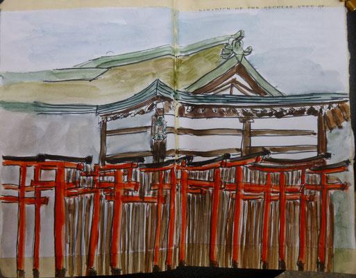 un temple d'Osaka, dessin de Daniel