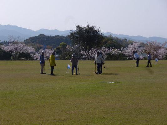 dès 8 h du matin les joueurs de croquet sont réunis