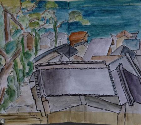 assis sous lwes pins, les toits de Setudo par Daniel