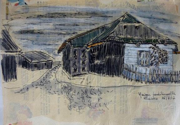 maison traditionnelle de Hlinsko, dessin de Frédérique