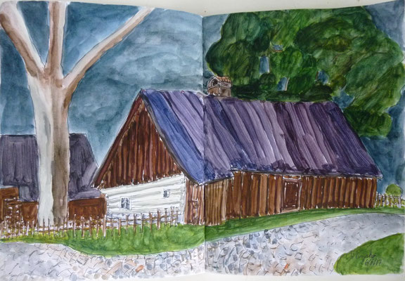 maison traditionnelle de Hlinsko, dessin de Daniel