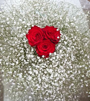 PB19  カスミソウ&赤薔薇3本