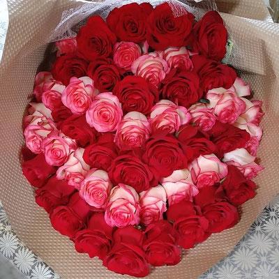 PB27 赤薔薇&ピンク薔薇50本 グラデーション