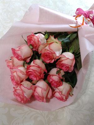 PB25 ピンク薔薇12本 ダズンローズ ピンク薔薇一番人気!