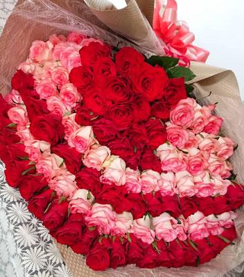 PB28 赤薔薇&ピンク薔薇 108本(永遠(とわ))