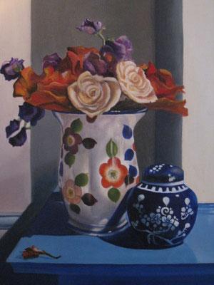 60x50 cm Japanse vaas met bloemen van papier. Verkocht