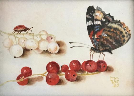 Detail uit een stilleven van Jan van Kessel 12x18 cm