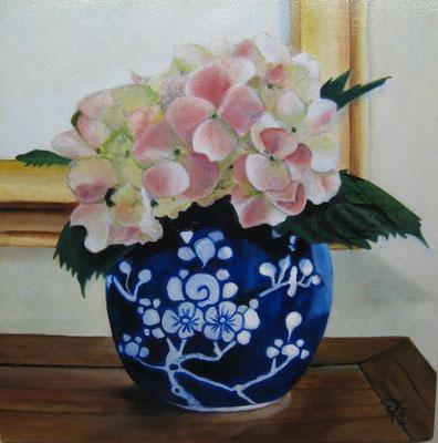 20x20 cm Gemberpot met hortensia