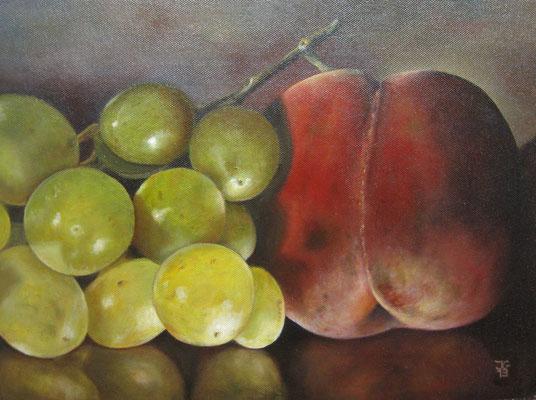 30x40 cm Perzik met druiven