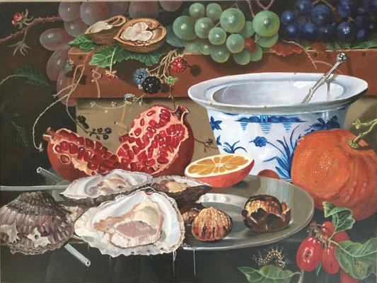 Detail uit een stilleven van Abraham Mignon 60x80 cm