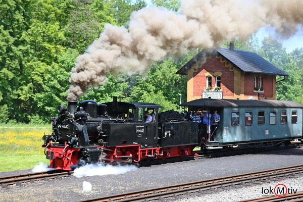 99 4652 bei der Ausfahrt aus Steinbach Bhf