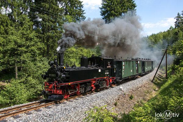 99 1590-1 (sächs. IV K) auf dem Weg zum Haltepunkt Loreleyfelsen