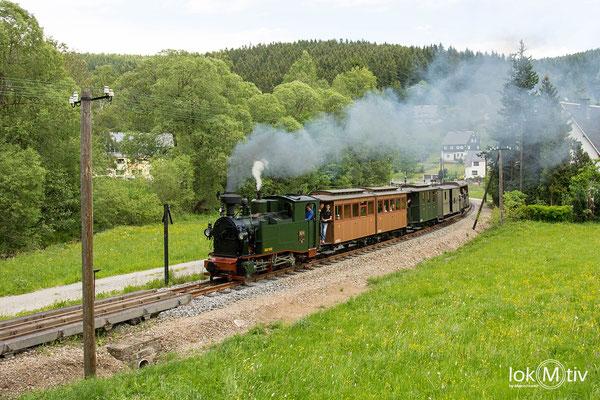 sächs. I K (No. 54) hat soeben Schmalzgrube in Richtung Jöhstadt verlassen