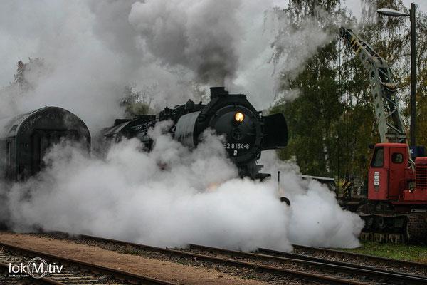 52 8154-8 zum Dampfseminar in Leipzig-Plagwitz (10/2018)