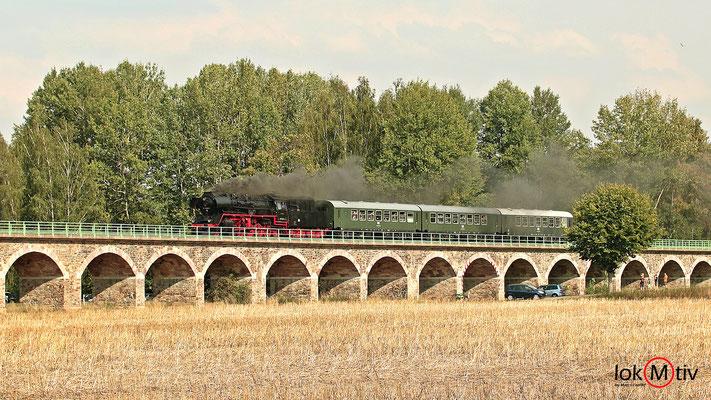 50 3648-8 bei der Sonderfahrt nach Hainichen beim queren der Zschopauauen in Braunsdorf